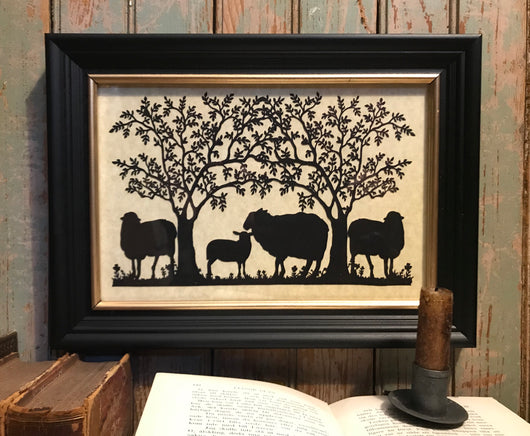 MB-4SH Four Sheep Under Trees Framed Silhouette