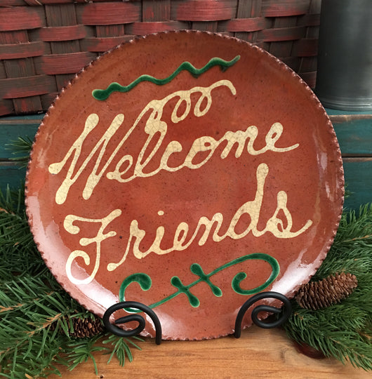 DTS-1360 Welcome Friends Redware Plate