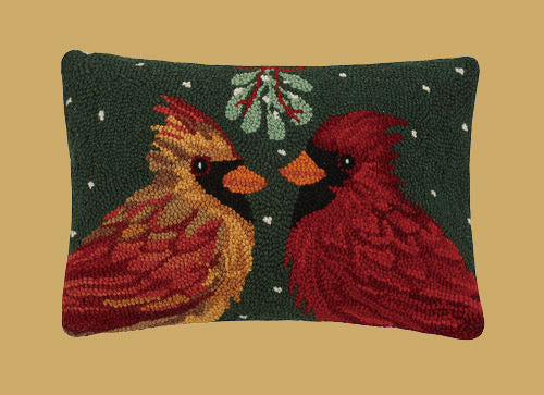 PH-015 Cardinal under Mistletoe Wool Hooked Pillow