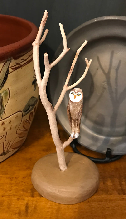 WW-RBO1 Resin Brown Owl in Tree