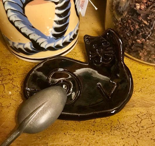 MWP-2002-B Black Kitty Pottery Tea Bag Holder