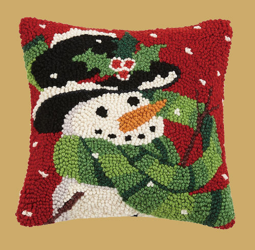 PH-014 Happy Snowman Wool Hooked Pillow