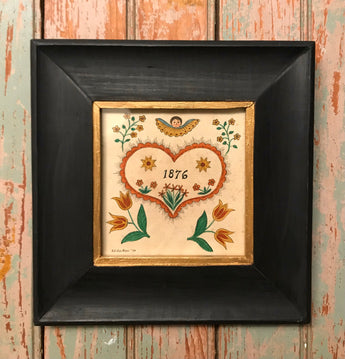 ER-2204 Framed 1876 Heart Fraktur