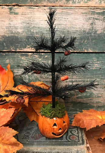 NV-1 Jack-o Feather Tree with Putka Pod Ornaments