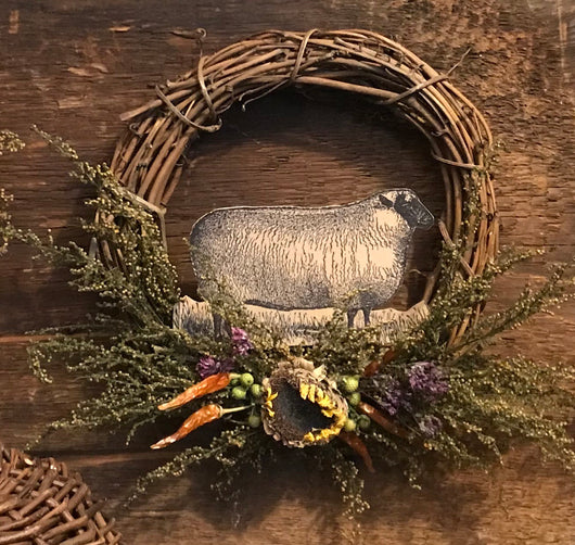 CD-1939 Paper Sheep Grapevine Wreath