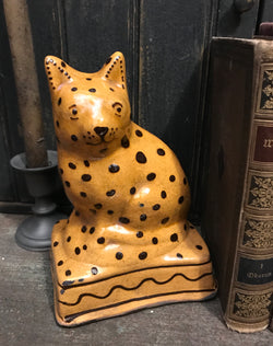 GMS-33 Shooner Redware Spotted Cat Doorstop