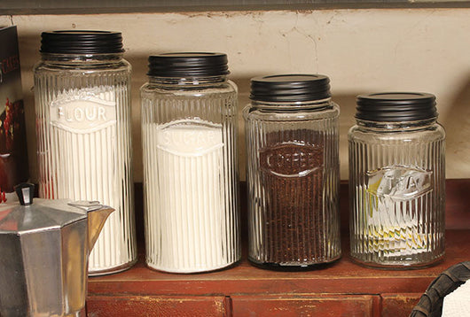 CT-4HC Hoosier Glass Canisters - Set of 4