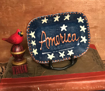 DTS-2002 Blue America Redware Tray