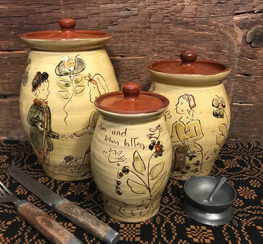 SJP-3SC Sgraffito Pottery Canister - Set of 3