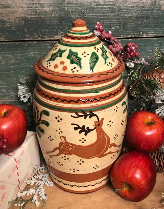 DTS-X29 Reindeer Redware Covered Pot