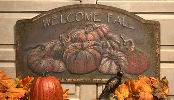 RA-013 Welcome Fall Embossed Tin Sign