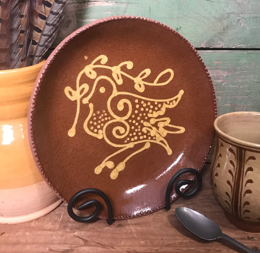 SE-61 Redware Plate with Bird Design