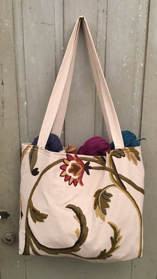 CD-CT-W Wine Flowers Crewel Tote Bag