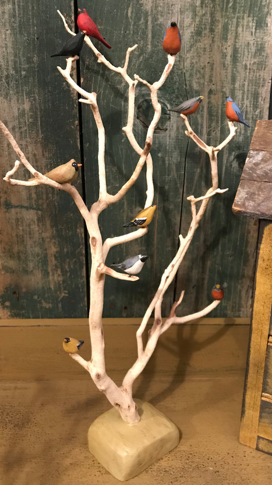 WW-RBT14 Ten Resin Birds in Tree