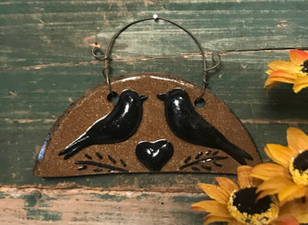 CC-2005 Pottery Crows Hanging Plaque