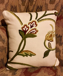 CD-CP-W Crewel Pillow - Wine Flowers