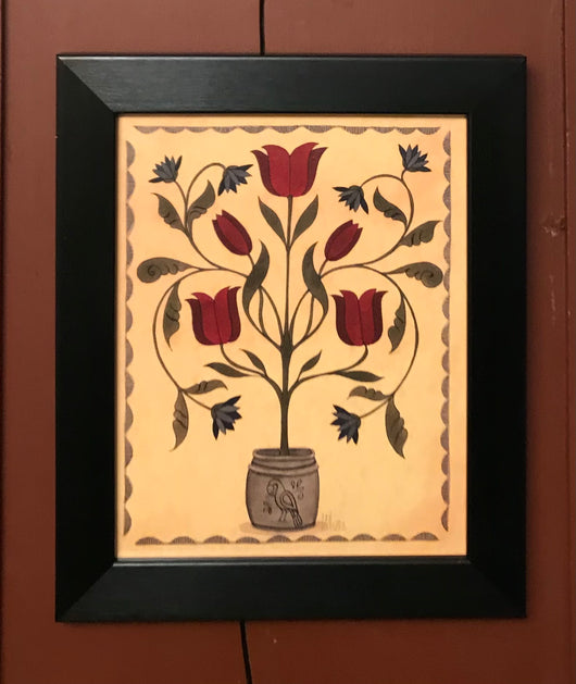 TH-05 Crock of Red Tulips Framed Print