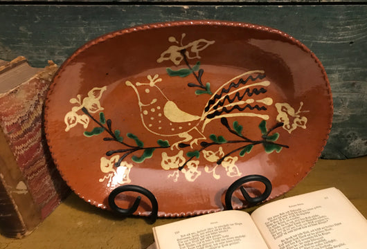 DTS-0616-16 Oval Bird Redware Tray