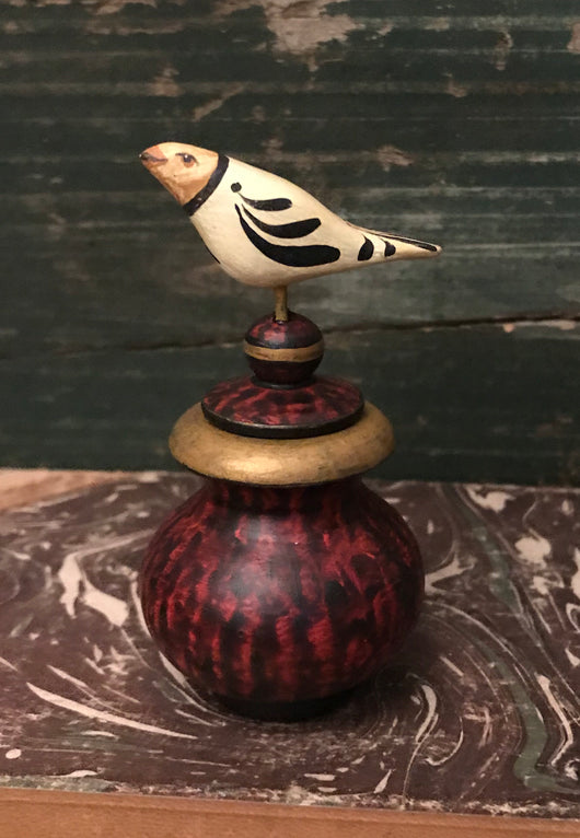 WW-77 Cream Bird on Mini Lidded Urn