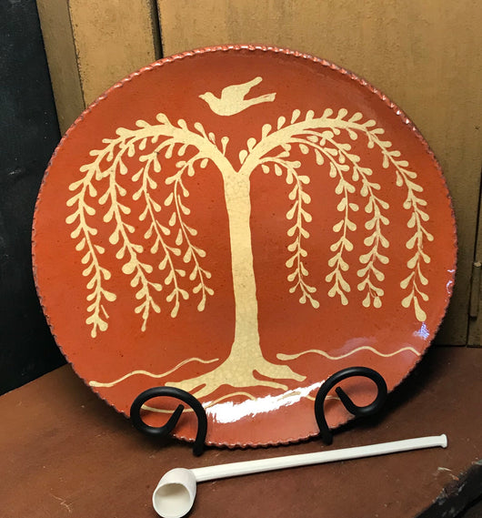 DTS-0803 Weeping Willow Redware Plate