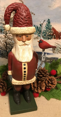 WW-S1 Carved Wood Santa with Cardinal