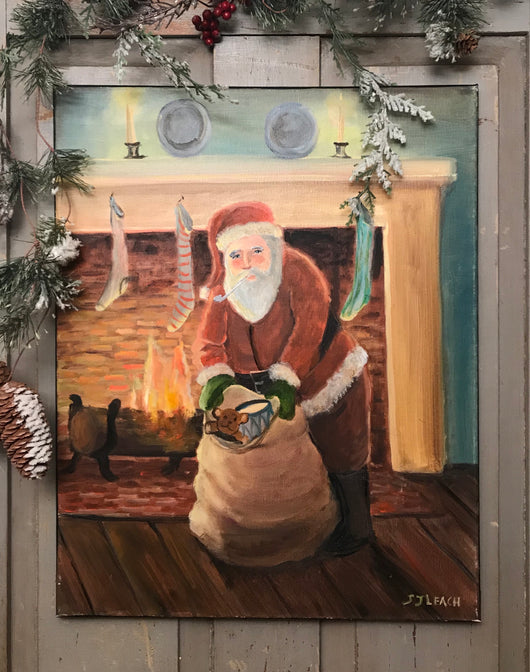 SDL-2035 Original 'Santa Arrives with His Sack' Canvas Oil Painting