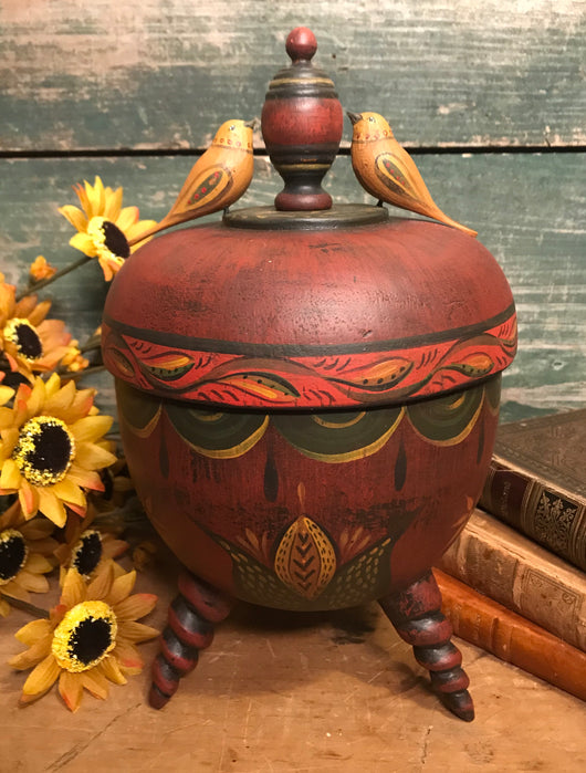 WW-171 Red Covered Urn with 2 Birds