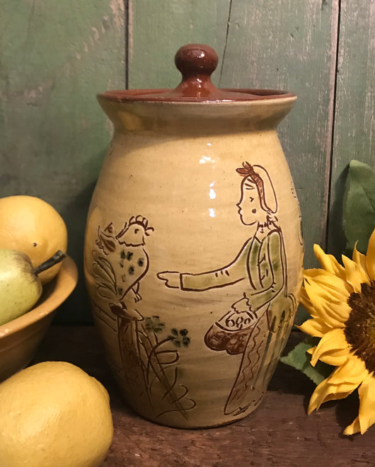 SJP-2001 Sgraffito Pottery Large Canister