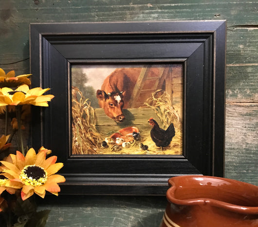 MB-0307-5 Cow and Chicks Framed Canvas