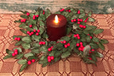 "LH-01 14"" Faux Holly Candle Ring with Berries"