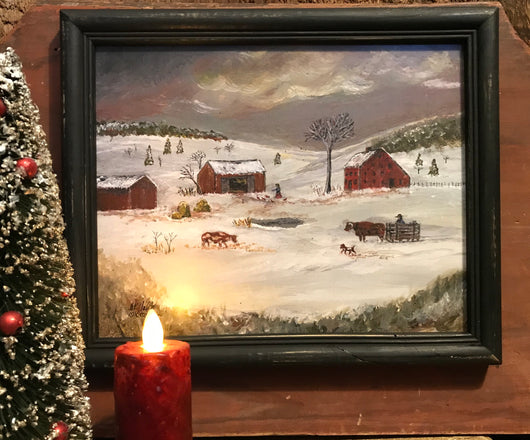 MKM-WH-L Winter Homestead Framed Print