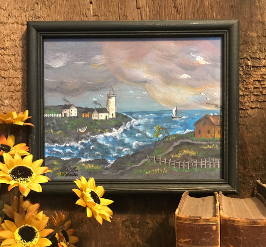 MKM-SL-L Stormy Lighthouse Framed Print
