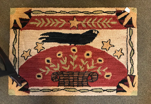 PD-CR Crow Hooked Rug