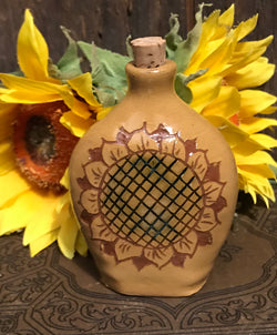 EJS-13 Small Yellow Sunflower Pottery Flask with Cork