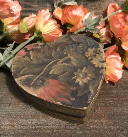 NV-09 Small Floral Paper Covered Heart Box