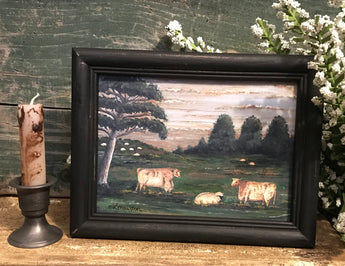 MKM-1908Sm Two Cows & Sheep Framed Print