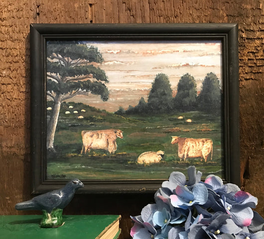 MKM-1908Lg Two Cows & Sheep Framed Print