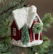 RA-031 Mercury Glass Red House Ornament