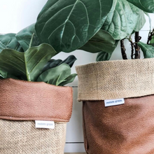 Load image into Gallery viewer, Pot Plant Cover Small - Tan Faux Leather Hessian Reversible
