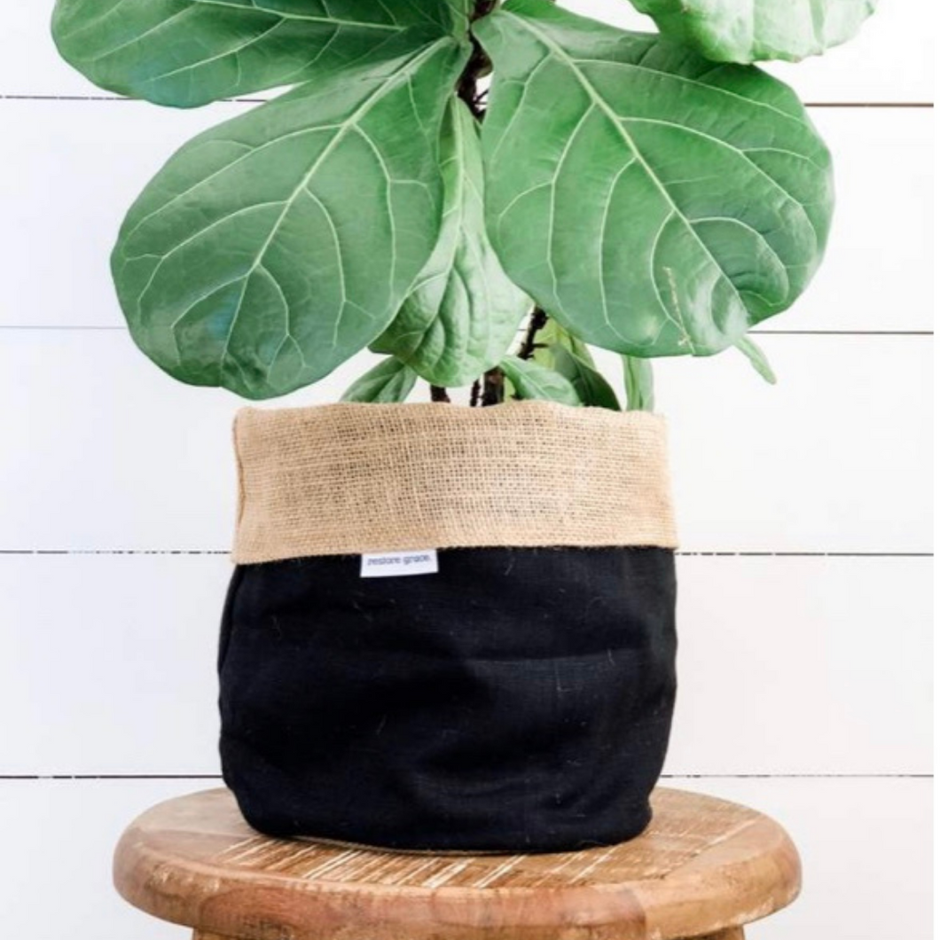 Pot Plant Cover Large - Black Linen Hessian Reversible