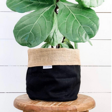 Load image into Gallery viewer, Pot Plant Cover Small - Black Linen Hessian Reversible