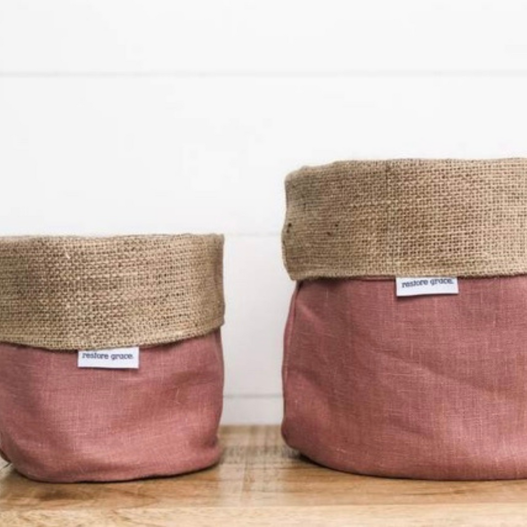 Pot Plant Cover Small - Blush Pink and Hessian Reversible