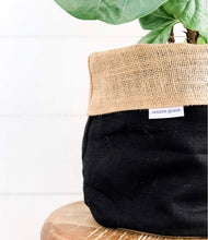 Load image into Gallery viewer, Pot Plant Cover Large - Black Linen Hessian Reversible