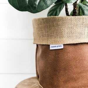 Pot Plant Cover Small - Tan Faux Leather Hessian Reversible