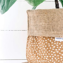 Load image into Gallery viewer, Pot Plant Cover XLarge - Fawn Spot Reversible Hessian