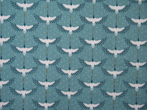 Cranes Printed Cotton in Turquoise £12 p/m