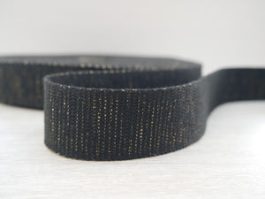 30mm Metallic Webbing - Black with Gold