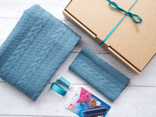 Load image into Gallery viewer, Cable Poncho & Ear Warmer Sewing Kit - Aqua