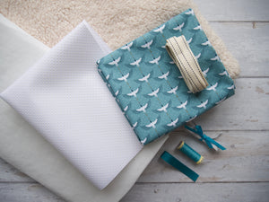 Booties Fabric Pack - Turquoise Cranes