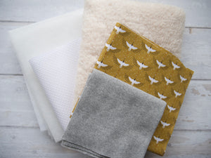 Slippers Fabric Pack - Cranes, Mustard